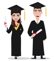 Student graduation. Cartoon character with diploma