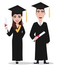 Student graduation. Cartoon character with diploma