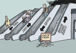 Employment. Debt. Savings. American economic mobility: out of service. Mike Keefe drawing published in The Denver Post, United States.