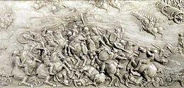 Bataille d'Agnadel, détail du tombeau de Louis XII et Anne de Bretagne, marbre, 1509, basilique Saint-Denis, France.
