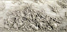 Battle of Agnadello, detail of the tomb of Louis XII and Anne of Brittany, marble, 1509, basilique Saint-Denis, France.