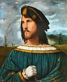 Portrait of gentleman said César Borgia, Altobello Melone, 1500-1524, oil on canvas.