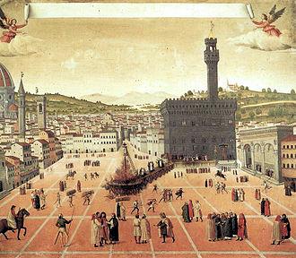 Savonarola bonfire, anonymous, 1498, Museum of San Marco, Venice.
