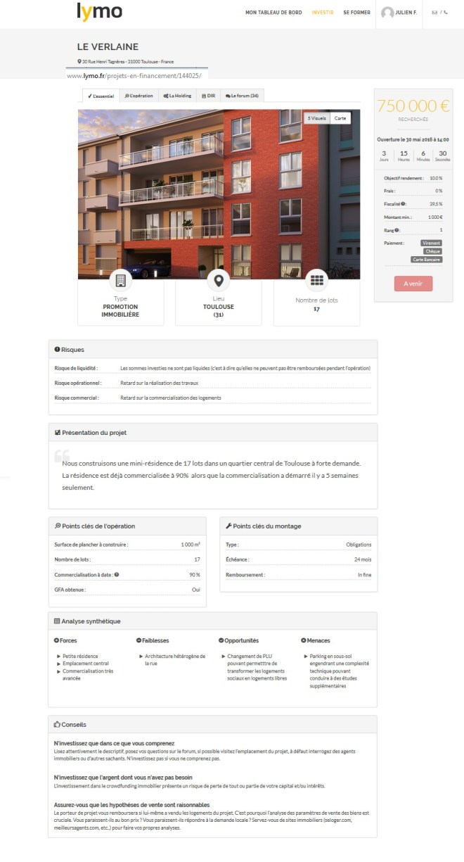 lymo crowdfunding corwdlending inmobiliaria ejemplo d un proyecto de