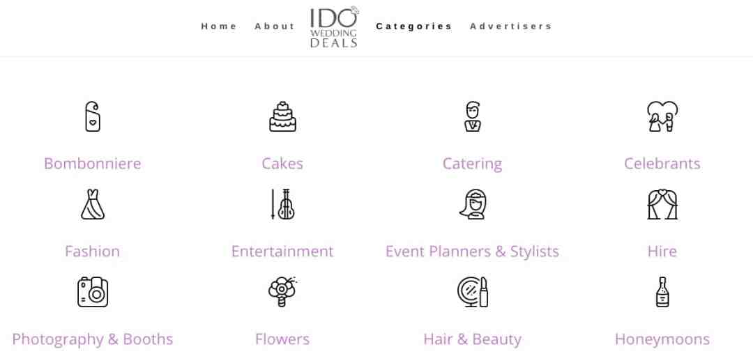 IDoWeddingDeals.com Categories Page