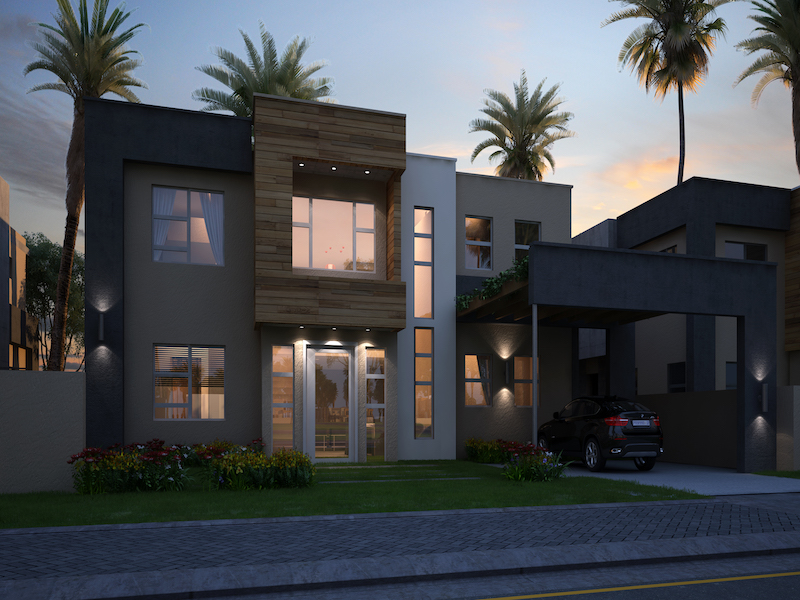 4 bed front view night