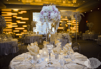 pink and white tall centerpiece