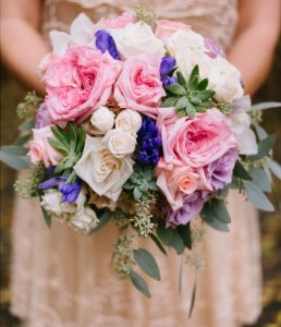 Pink, purple, white wedding bouquet