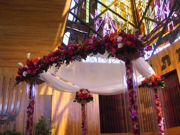 purple and pink huppah