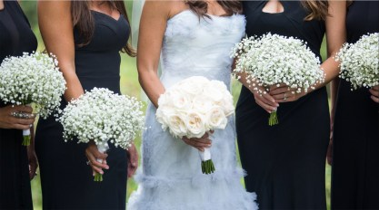 Roses and baby's breath bouquets