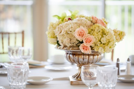 pink and green wedding centerpiece