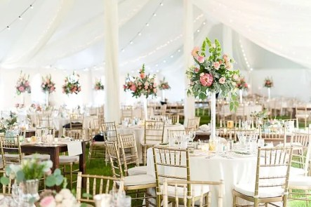 wedding tent floral decor