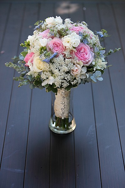 pink, blue and white wedding bouquet