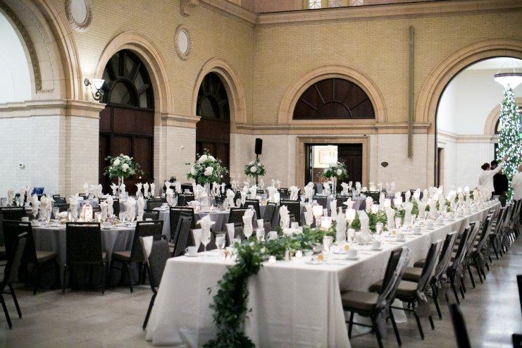 wedding reception Christmas tree and table decor