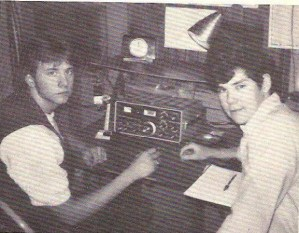 Rich Garboski and Mark Mokosky operating my Ham radio station during a contest in 1978