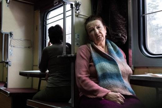 Passenger in a train