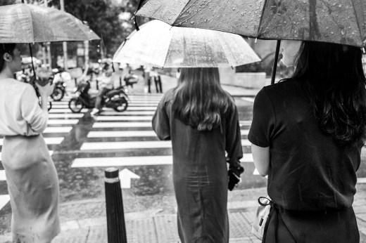 Three women with umbrellas in Seoul