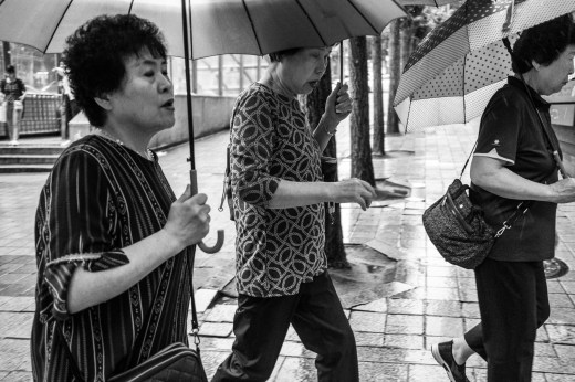 Three women with umbrellas in Seoul
