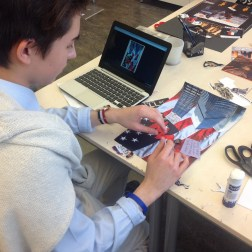 Student working on collage