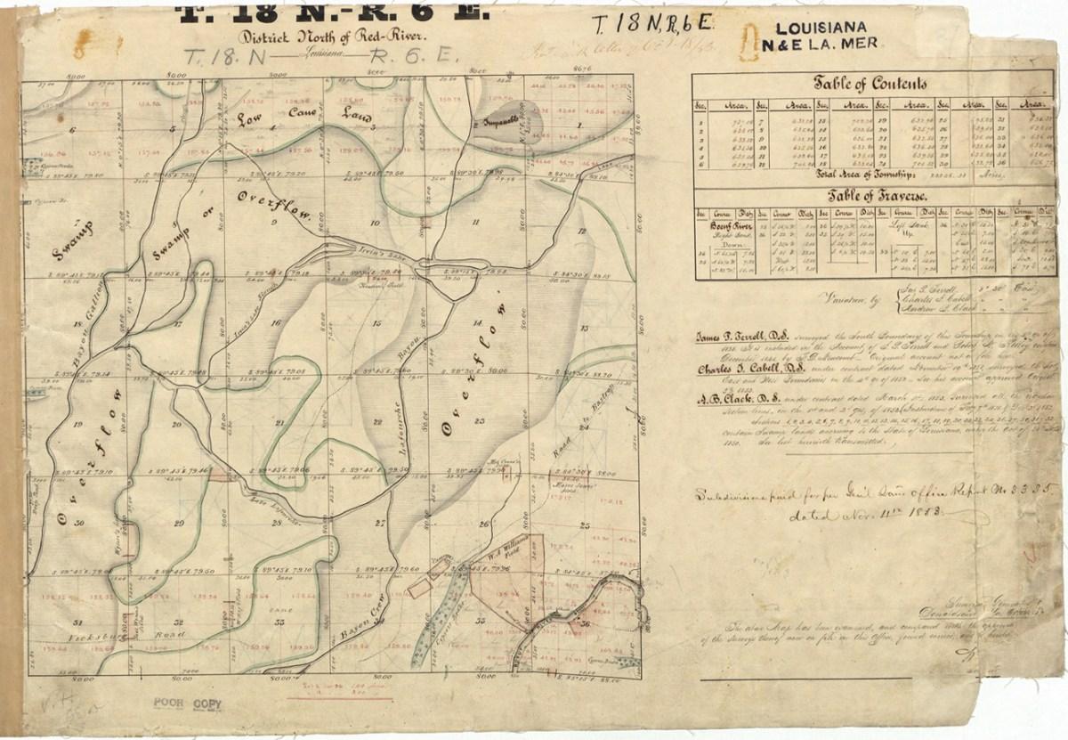 1853 Survey in NW Richland Parish; Wynn Island, Webb Hill