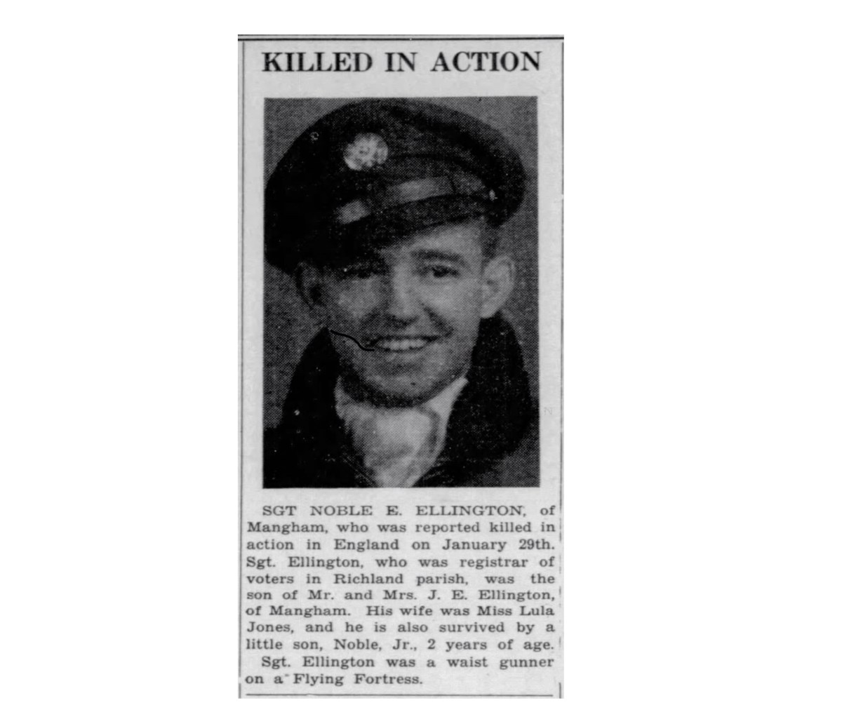 Sgt. Noble E. Ellington Killed In Action #WWII 1945