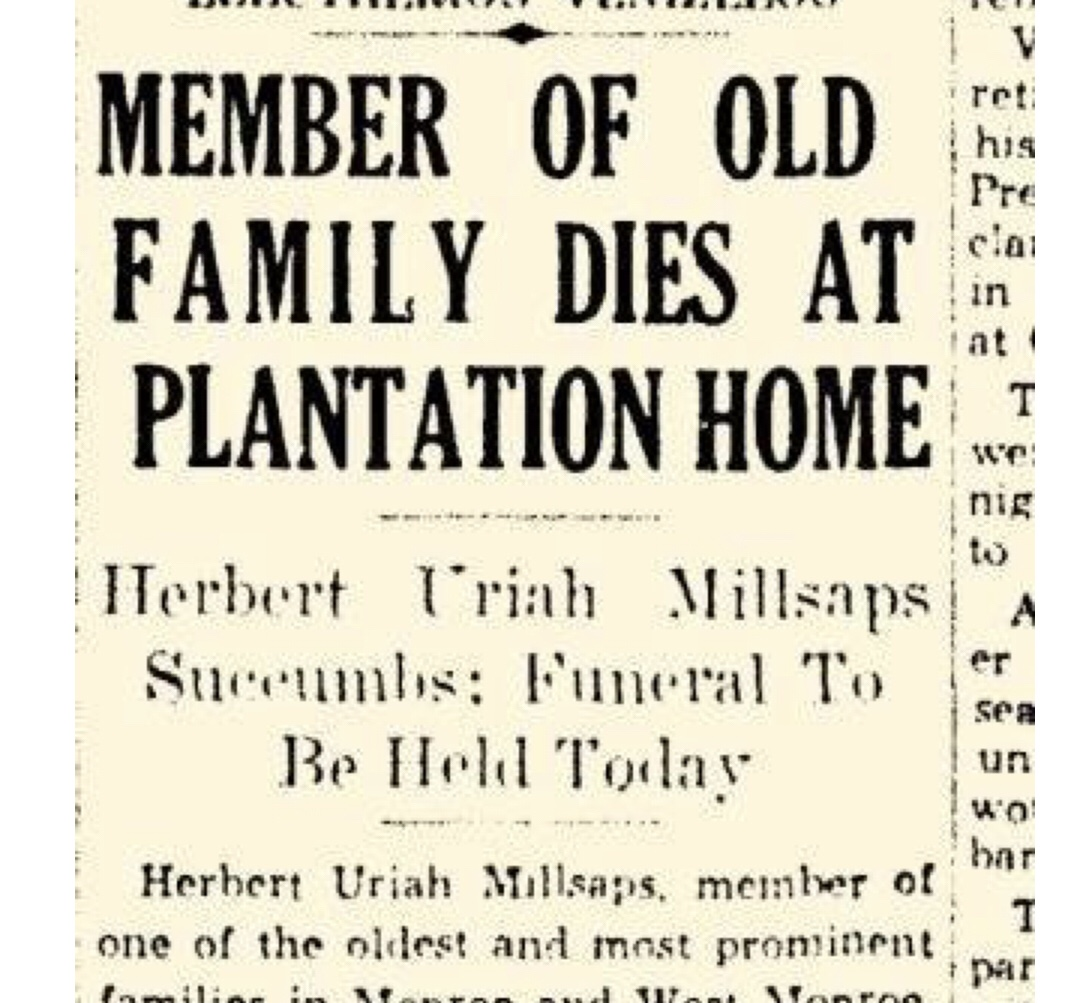 Prominent Ouachita Businessman Uriah Millsaps Dies at Crew Lake plantation home in 1935