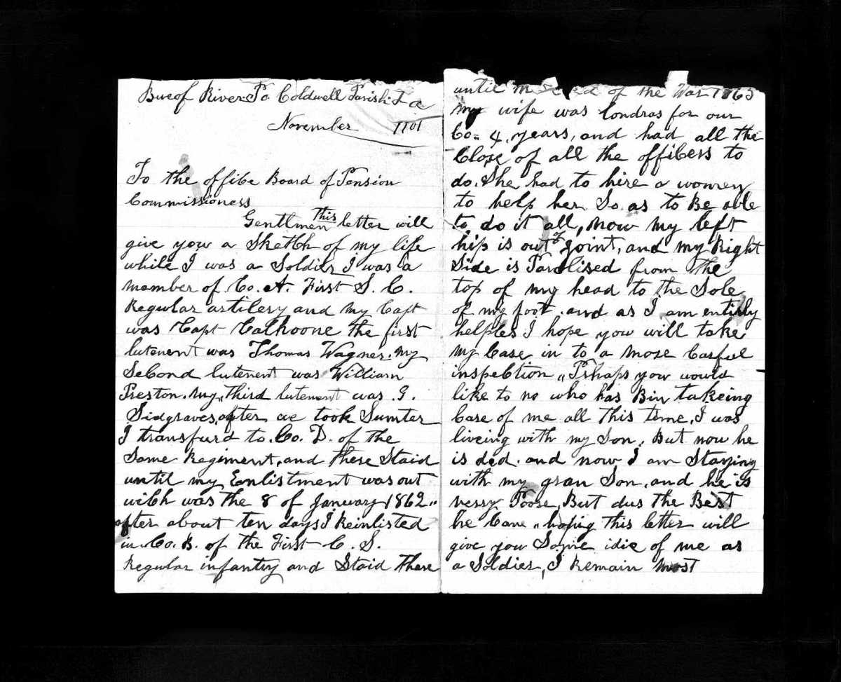 Handwritten Letter from John W. Swett Detailing Service In Civil War