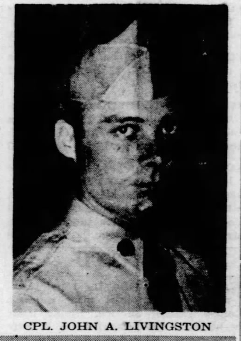 Cpl. John Archibald Livingston, of Rayville, Killed in Korean War, ca 1952