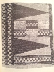 Reconstructed fabric based on the find of preserved brocaded linen from Irgenhausen. From Barber 1991, 139.