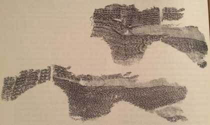 Remains of brocaded linen textile found at Irgenhausen in Switzerland dating to c. 3000 BC. From Barber 1991, 138.