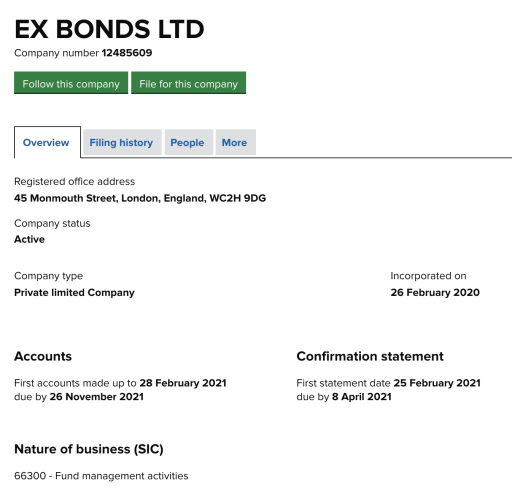 Ex Bonds registration