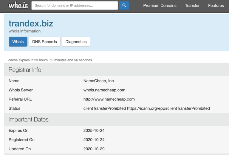Trandex biz domain