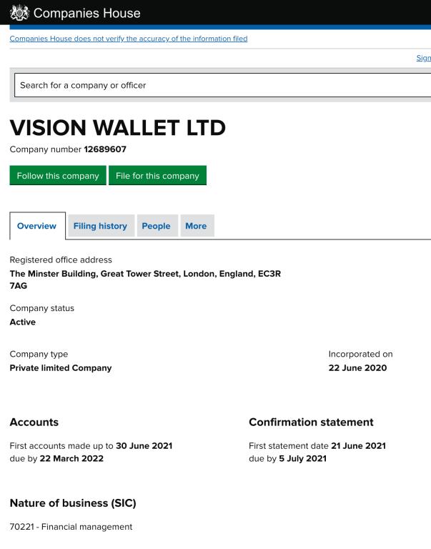 VisionWallet Registration