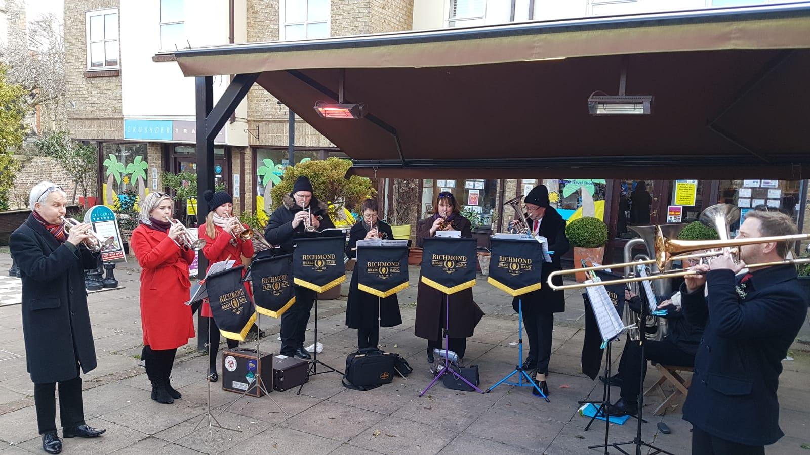 Richmond Brass Band ensemble at Church Street