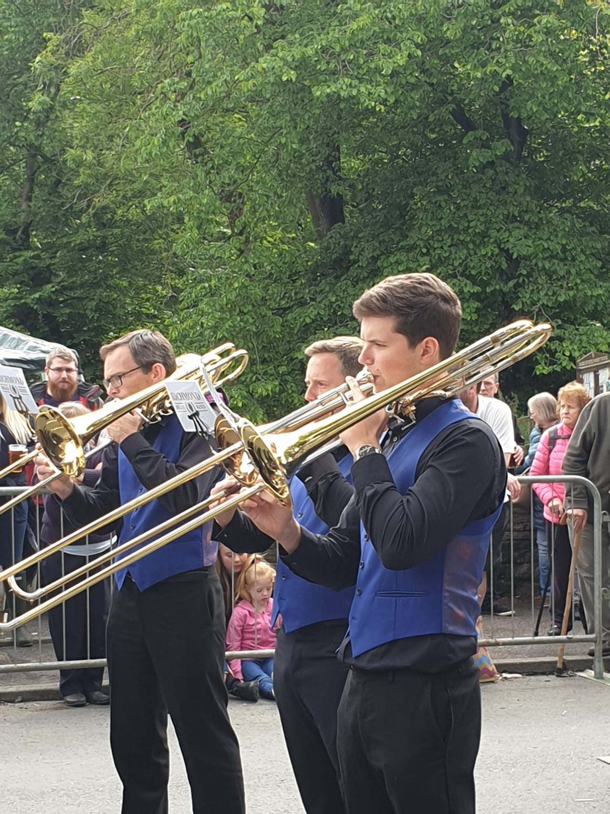 The trombone section playing at Denshaw