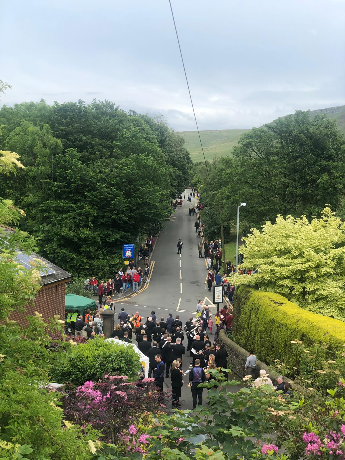 An elevated view down the the street march route in Diggle