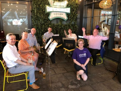 Members of Richmond Brass Band as a sextet supporting stem4