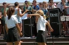 girls dancing in circle