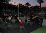 kids running in to festival