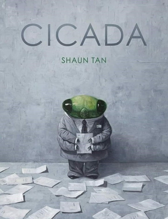 life cicada shaun tan art amazing powerful meaning bugs | illustration of a cicada wearing a grey suit and a tie and holding a piece of paper, while surrounded by papers on the floor