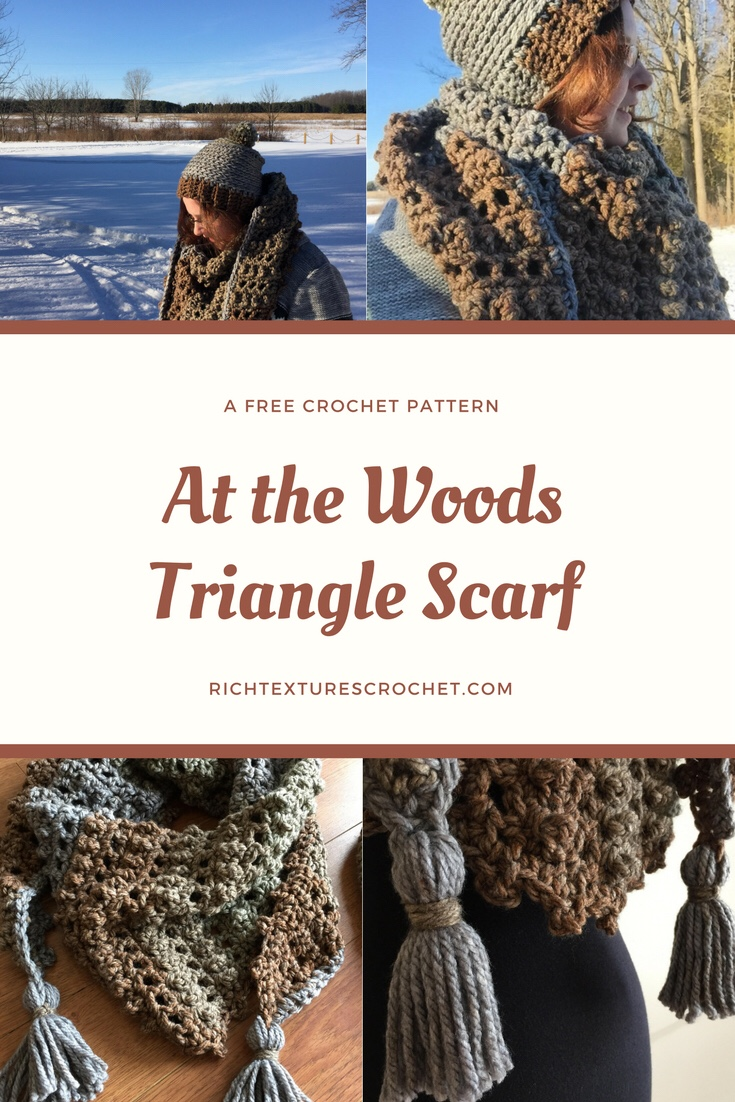 At the Woods Triangle Scarf - A free Pattern | Rich Textures Crochet