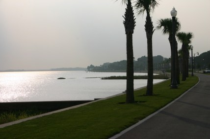 It's 8:43:23 a.m. on August 8, 2004, looking east along the Lake Monroe marina seawall in downtown Sanford, Florida.