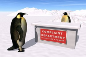 a complaint desk operated by penguins