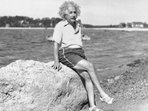 einstein at the beach before the invetion of flip-flops