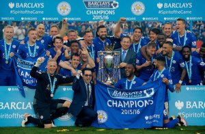 leicester showing off the premier league cup