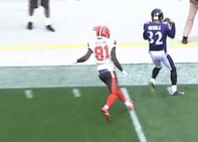 eric weddle had a big interception against the cleveland browns
