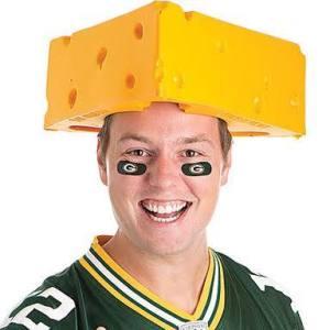 packer fan wearing a cheese head