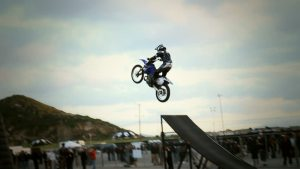 motorcycle jump off a ramp