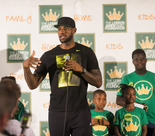 lebron james talking to kids