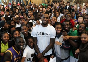 lebron james with a bunch of kids